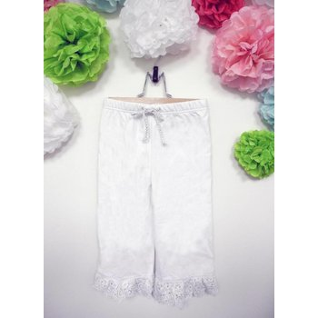 Calla Lily White Pants With Crochet Lace Trim