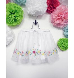 Calla Lily White Mesh Skirt With  Colorful Flowers