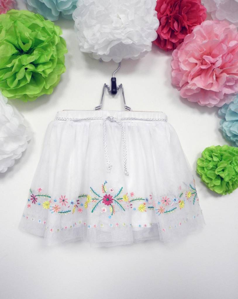 Calla Lily White Skirt With Colorful Flowers Peek A Bootique