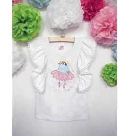 Calla Lily Blue Bird White Shirt
