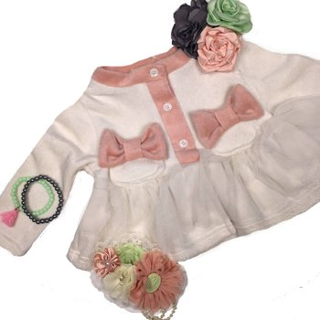 Mae Li Rose Ivory Baby Bow Cardigan