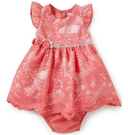 Rare Editions Coral Lace Social Dress