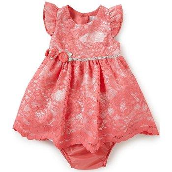 Rare Editions Coral Lace Social Dress