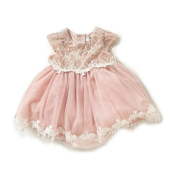 Rare Editions Blush Sparkle Lace Dress