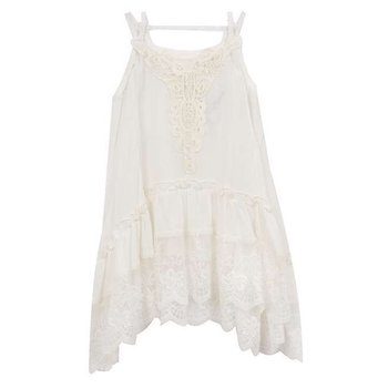 Rare Editions Ivory Cotton Gauze Dress
