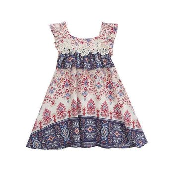 Rare Editions Ivory Red Navy Border Printed Dress