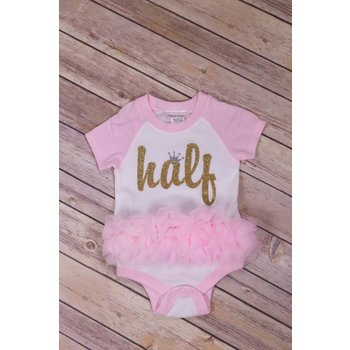 Reflectionz Half Birthday Raglan Ruffle Onesie