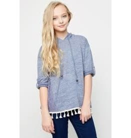 Hayden Blue Tassel Hooded Long Sleeve Top