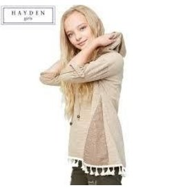 Hayden Tan Tassel Hooded Long Sleeve Top