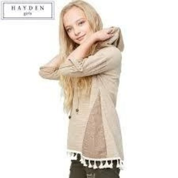 Hayden Tan Tassel Hooded Long Sleeve Top