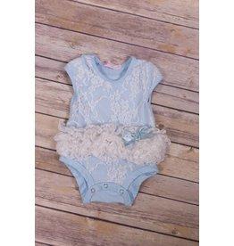 Popatu Blue and White Lace Tutu Onesie