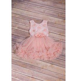 Popatu Peach Flower Pettiskirt Dress