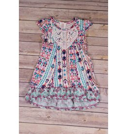 Pink Vanilla Ivory & Mint Tribal Print Dress