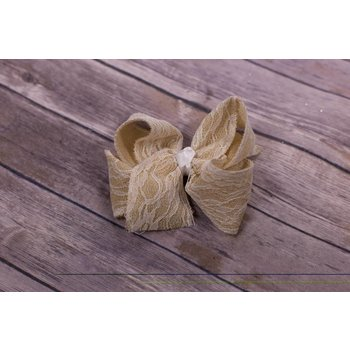 "Reflectionz 5"" Lace Burlap Hairbow"
