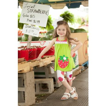 Molly & Millie Strawberry Lime Tunic And Capri Set