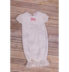 CachCach White Eyelet Gown With Pink Bow And Rose