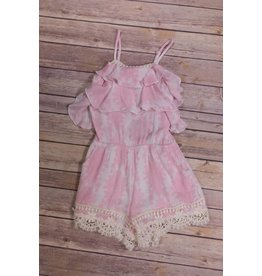 Hannah Bananna Pink Rose Lace Trimmed Romper