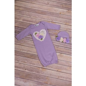 Oh Baby Couture Lavender Layette Gown & Hat