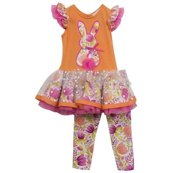 Rare Editions Orange and Pink Floral Bunny Tunic Set