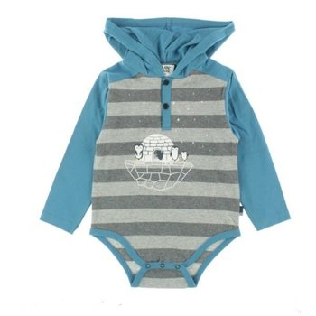 Blanc De Blanc Penguin Striped Onesie With Hood