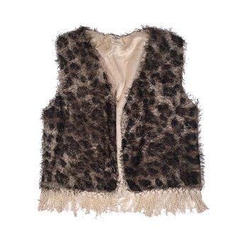MLKids Leopard Fuzzy Vest W/ Fringe