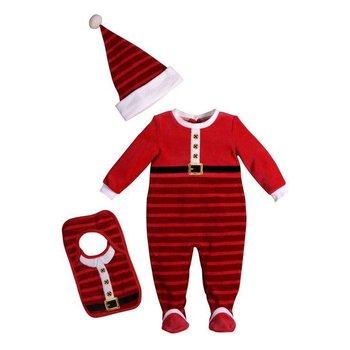 Santa Clause Velour Pajama Set (Hat & Bib Included)