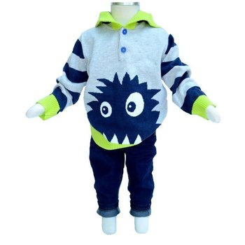 Chapo Pointu Monster Face Striped Hooded Sweater
