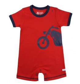 Rugged Butts Red Romper W/Navy Motorcycle