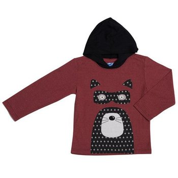Kapital K Maroon Stripe Raccoon Appliqued Jersey Hooded Tee