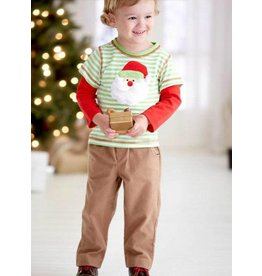 Boys n Berries Green Striped Santa Pant Set