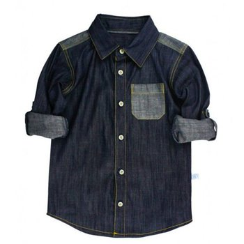 Ruffle Butts Dark Blue Denim Button Down