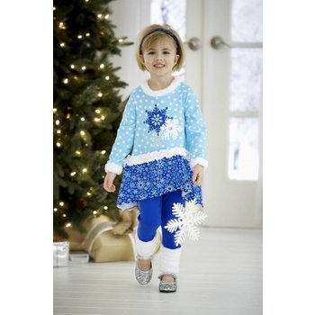 Molly & Millie Blue Snowflake Tunic with Scrunched Leggings
