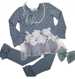 Nina And Nelli Apparel Dusty Blue Polka Dot Top with Tulle Accent