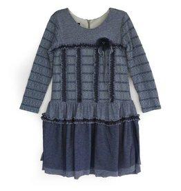 Isobella & Chloe Dusty Blues Drop Waist Dress