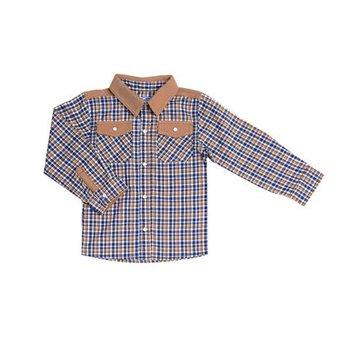 Kapital K Brown Trim Plaid Button Down Shirt