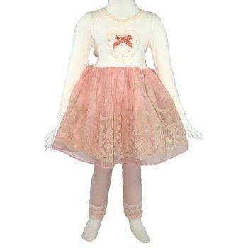 Mae Li Rose Ivory Long Sleeve Dress with Peach Accents