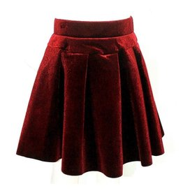 Mae Li Rose Burgundy Velvet Pleated Skirt