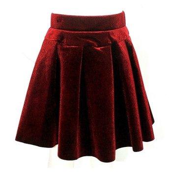 Mae Li Rose Burgundy Velvet Pleated Skirt
