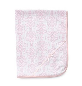 Little Me Pink & White Damask Blanket