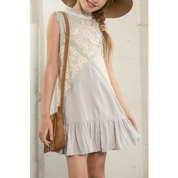 Hayden Pewter Lace Mock Dress