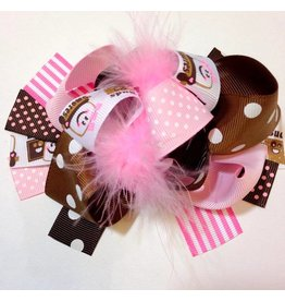 Pink and Brown Smores 3.5 Boutique Bow