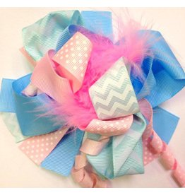 Baby Blue and Pink Chevron Corker 4 in Boutique Bow