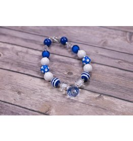 Sky Blue Diamond Pendant with Blue & White Polka Dot Chunky Necklace