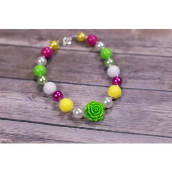 Lime Green Rose Chunky Necklace