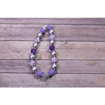 Purple And Silver Disco Ball Chunky Necklace