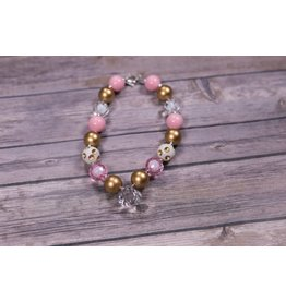 Crystal Diamond with Pink and Gold Chunky Necklace