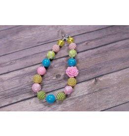 Light Pink Rose Chunky Necklace