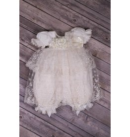 Katie Rose Ivory Lace With Lace and Silk Flower Belt Dress
