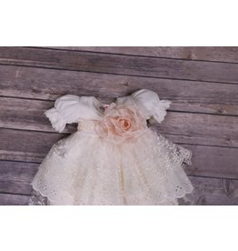 Katie Rose Ivory Lace Bloomer And Rose Belt Dress