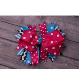 Blue/Pink/Black Polka Dot And Stripe 5 in Boutique Bow